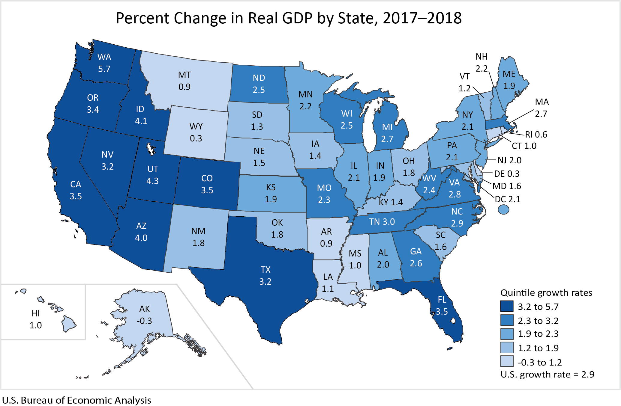 Louisiana Gdp Grew 11 In 2018 Below National Average - Us-gdp-map